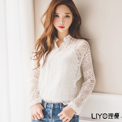 LIYO理優立領簍空蕾絲上衣-附小可愛(白)