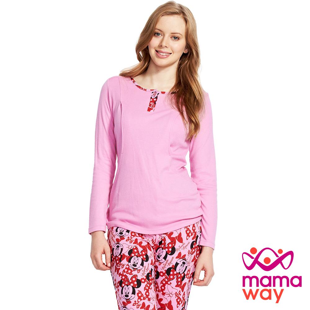 Mamaway 蝴蝶結米妮孕哺居家服組(長袖+長褲) 粉色