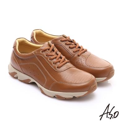 A.S.O 輕量抗震 真皮質感綁帶奈米休閒鞋 茶色