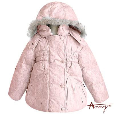 Anny氣質蕾絲壓紋毛絨羽絨連帽外套*2282粉