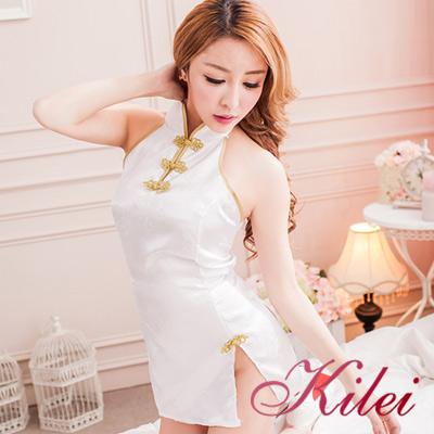 旗袍-全尺碼-上海風花紋旗袍連身二件式扮演睡衣組-女神白-Kilei綺麗