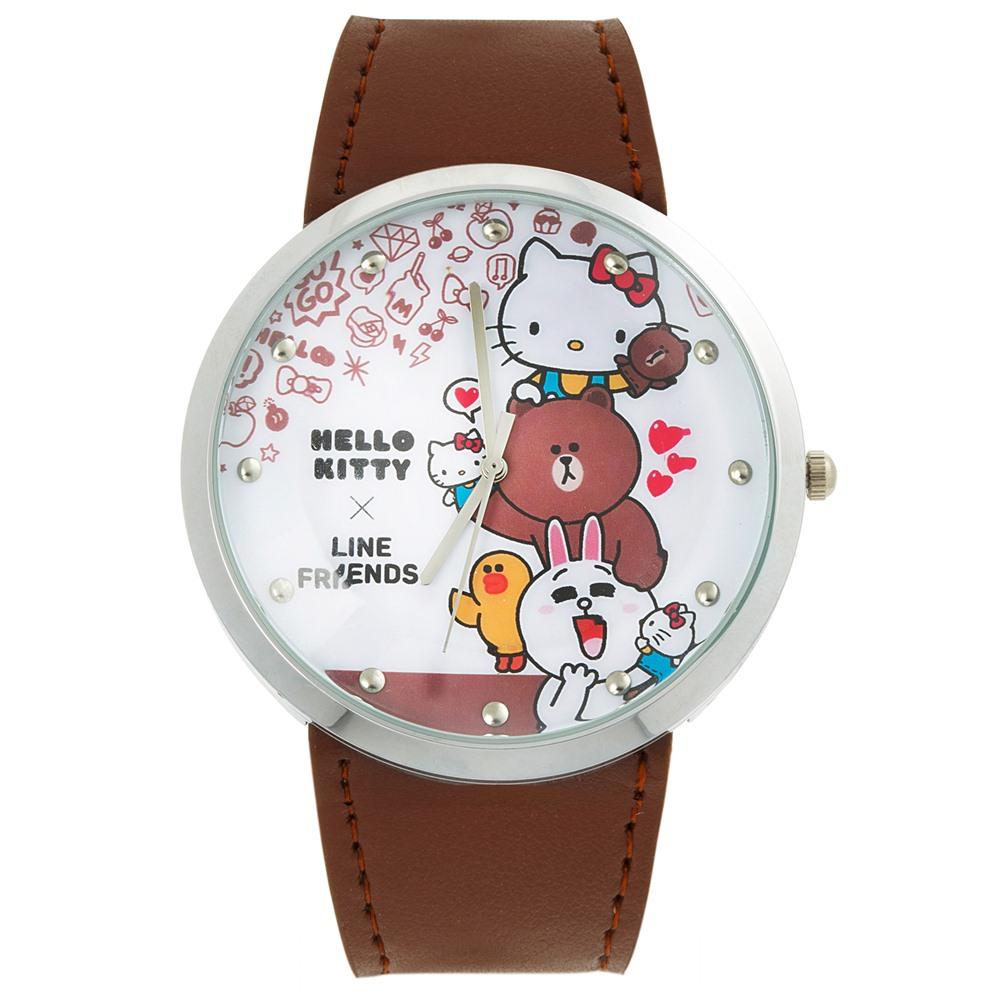HELLO KITTY 凱蒂貓 x LINE 限量聯名手錶-咖啡/50mm