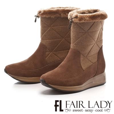 Fair Lady 寒冬對策2way厚底運動雪靴 卡其