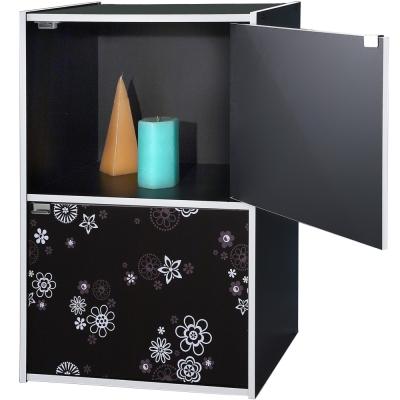 EASY-HOME-二格二門收納書櫃-黑