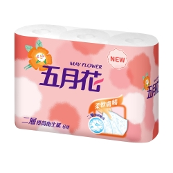五月花捲筒式衛生紙 -270張 x6捲/袋-柔韌版