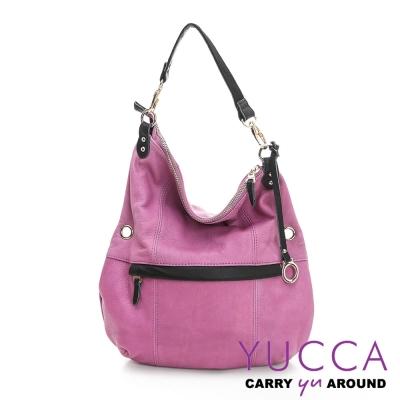 YUCCA - 牛皮多彩造型肩斜背包 -紫紅色E6004362C77