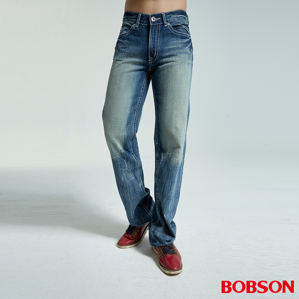 BOBSON 男款鬼爪刷白淺藍中直筒褲