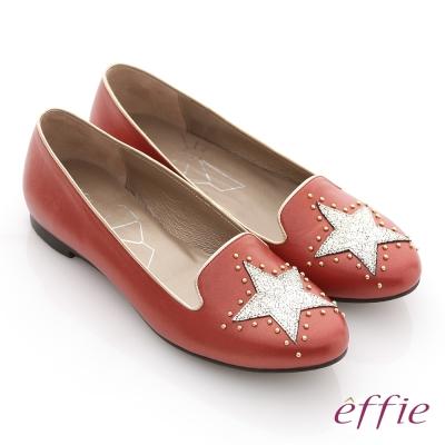 effie 金屬裝飾 全羊皮星形鉚釘樂福鞋 紅