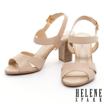 涼鞋 HELENE SPARK  知性優雅羊皮粗跟涼鞋-米