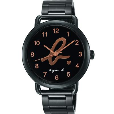 agnes b. 就愛巴黎 藝術Logo腕錶(BH8040X1)-黑x玫瑰金字/40mm