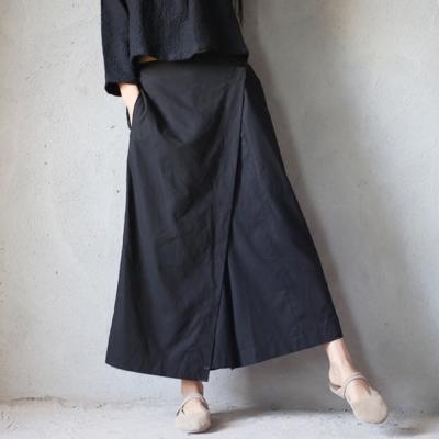 La Belleza腰鬆緊打摺不對稱剪裁闊腿長褲寬褲裙