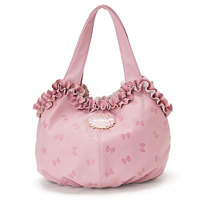 Sanrio 美樂蒂浪漫滾邊PU皮革手提包(粉) @ Y!購物