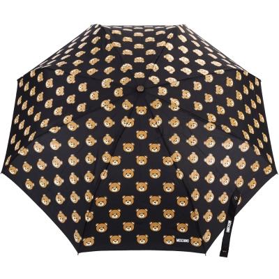 MOSCHINO Teddy Heads 泰迪熊大頭圖案自動摺疊晴雨傘(黑色)