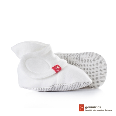 美國 GOUMIKIDS 有機棉嬰兒腳套 (點點-淺灰)