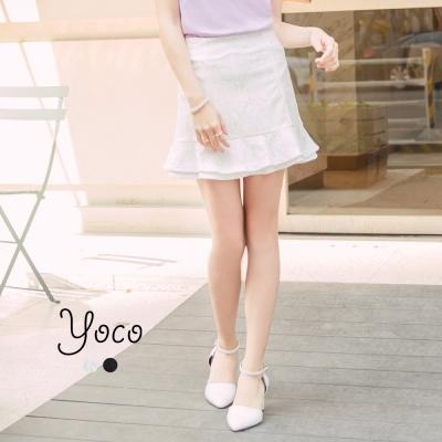 東京著衣-yoco 高雅浪漫荷葉蕾絲褲裙-S.M.L(共二色)