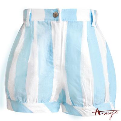 Annys休閒可愛條紋反褶短褲*5371水藍