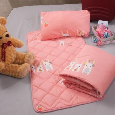 快樂兔兔  兒童涼被睡墊童枕3件組