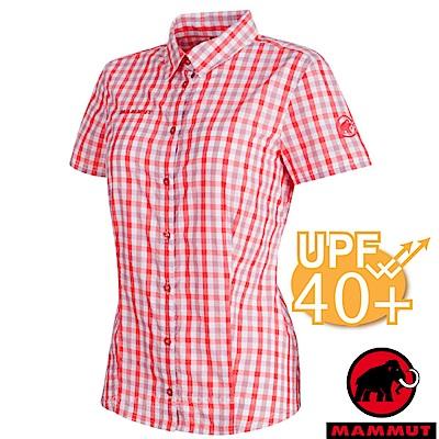 【瑞士 MAMMUT 長毛象】Kirsi 女新款 彈性透氣短袖襯衫_白/小檗紅