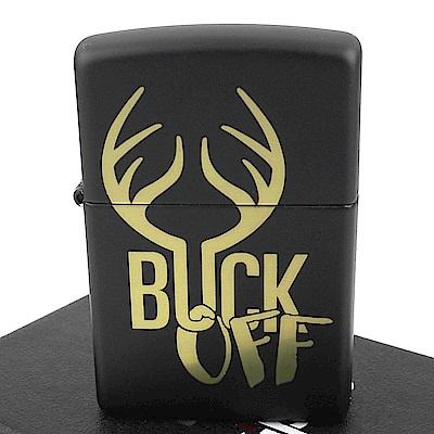 ZIPPO 美系~Buck Off-鹿角圖案黑色烤漆打火機