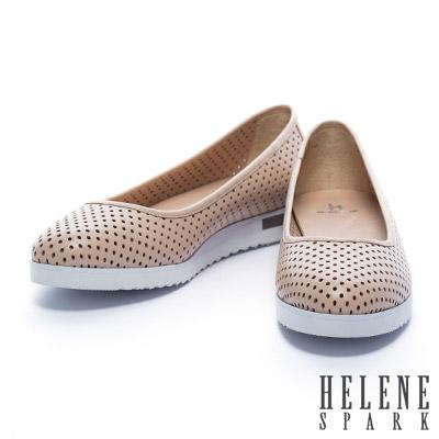 娃娃鞋 HELENE SPARK 素面打洞全真皮厚底娃娃鞋-米