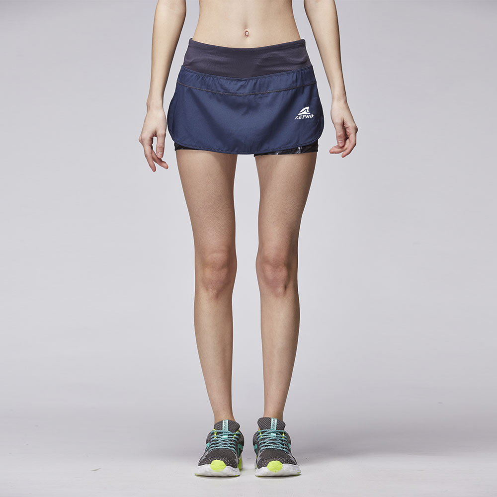 【ZEPRO】女子Bn運動慢跑短褲-藍黑色
