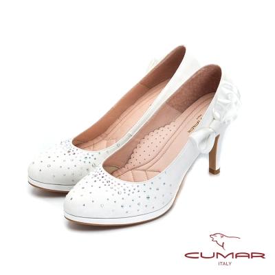 CUMAR-純色典雅 水鑽緞帶蝴蝶結高跟鞋-銀白