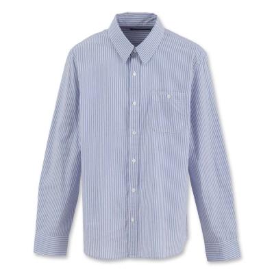 Hang Ten - 男裝 - 都會直條紋長袖襯衫-藍