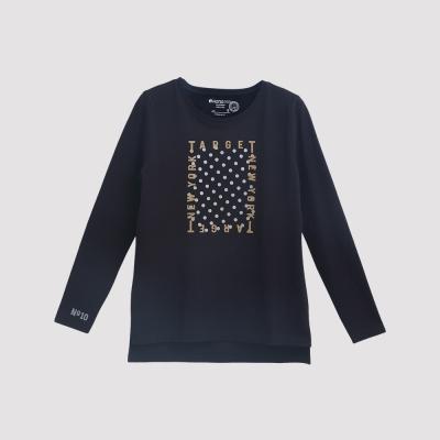 Hang Ten - 女裝 - 有機棉 TARGET圖章T恤 - 黑