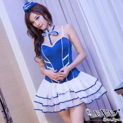 角色扮演 甜心空姐四件式連身紗裙角色服 時尚藍 XOXOXO