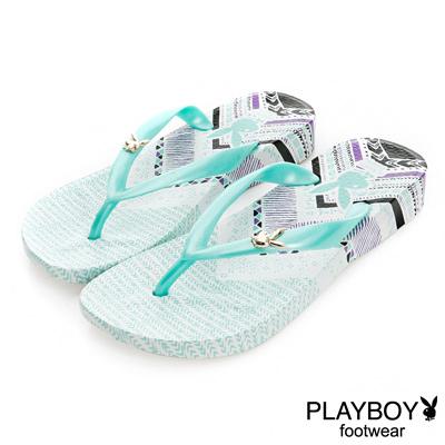 PLAYBOY混搭經典 民族風圖樣夾腳拖鞋-白綠(女)