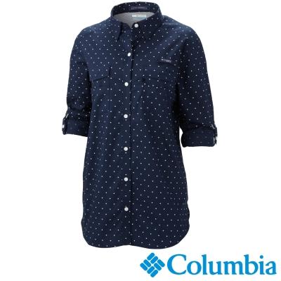【Columbia哥倫比亞】女-棉質長袖襯衫-深藍色 UFR70600NY