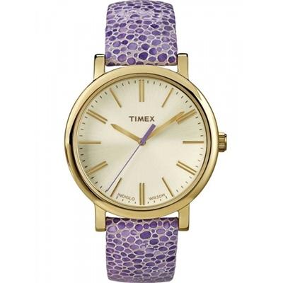 TIMEX 天美時經典復刻冷光系列腕錶-紫x金/38mm