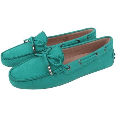 TOD`S 經典壓紋綁帶豆豆鞋(湖水綠)