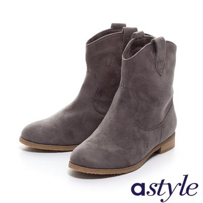 astyle-簡約帥氣麂布低跟短靴-灰