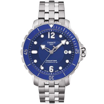 TISSOT 天梭 Seastar 1000 海洋之星潛水機械腕錶-藍/42mm