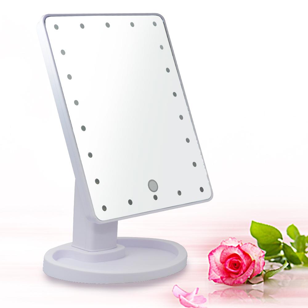 10吋超大22燈LED可翻轉觸控亮度調整美顏化妝桌鏡-白