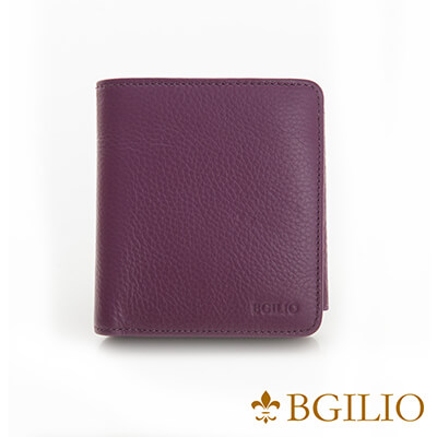 義大利BGilio-高質感牛皮青春短夾-紫色-1969.313-10