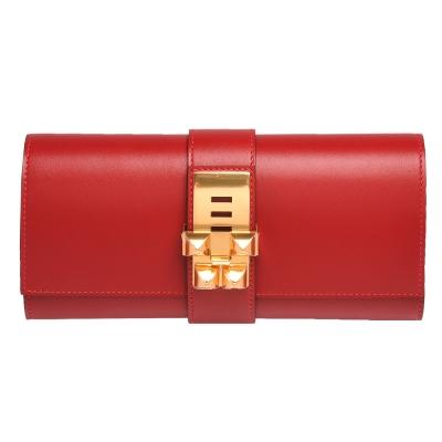 HERMES Medor Sanguine CDC皮革金色鉚釘穿式手拿包(火焰紅)