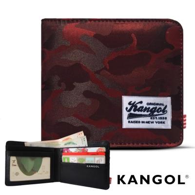 KANGOL 韓式潮流 多夾層橫式短皮夾+鑰匙圈禮盒-迷彩紅