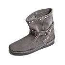 MINNETONKA-STUDDED STRAP鉚釘繞帶短靴-灰色