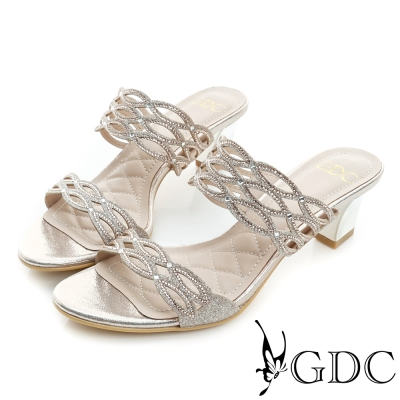 GDC-性感簍空水鑽高跟一字涼拖鞋-金色