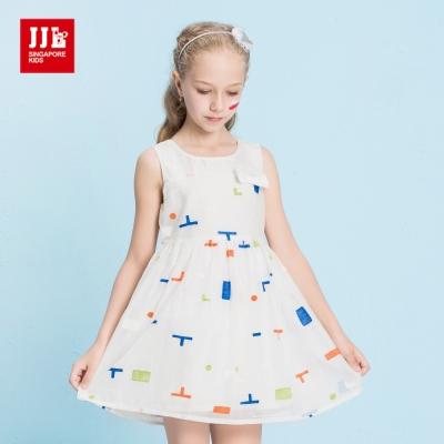 JJLKIDS 繽紛幾何圖型立體刺繡洋裝(白色)