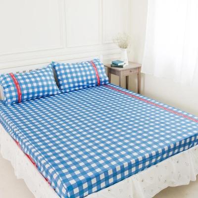 奶油獅-格紋系列-台灣製造-100-精梳純棉床包三