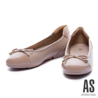 娃娃鞋-AS-異材質拼接蝴蝶結縮口平底娃娃鞋-粉