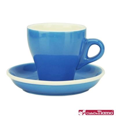 Tiamo 14號鬱金香卡布杯盤組5客180CC-藍色(HG0851B)