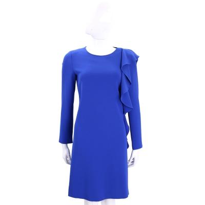BOUTIQUE MOSCHINO 藍色荷葉滾邊長袖洋裝
