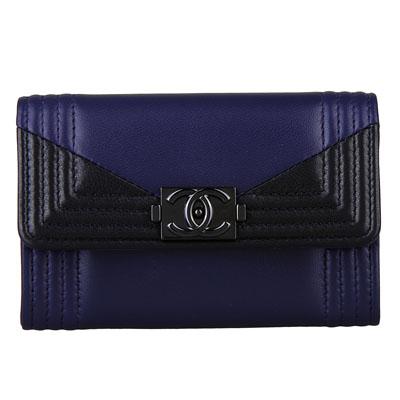 CHANEL 經典BOY系列羊皮黑釦壓邊釦式卡夾零錢包(藍/黑)