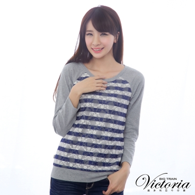 Victoria 燒花條紋蕾絲拼接TEE-女-灰色