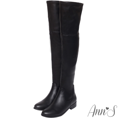 Ann'S貼腿激瘦-全素面平底羊紋彈力側拉鍊過膝長靴-黑