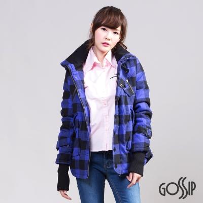 Gossip 經典格紋N3B軍裝連帽外套-藍紫-女